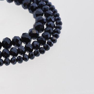Stikliniai kristalai, briaunuoti, rondelės forma, #049 nepermatoma hematito mėlyna spalva, apie 140-145 vnt./gija, 2x1, 3x2, 4x3, 6x4, 8x6, 10x8, 11x9 mm
