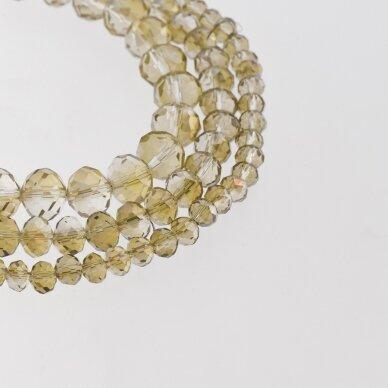 Stikliniai kristalai, briaunuoti, rondelės forma, #050 skaidri smėlio spalva, AB efektas, apie 140-145 vnt./gija, 2x1, 3x2, 4x3, 6x4, 8x6, 10x8, 11x9 mm