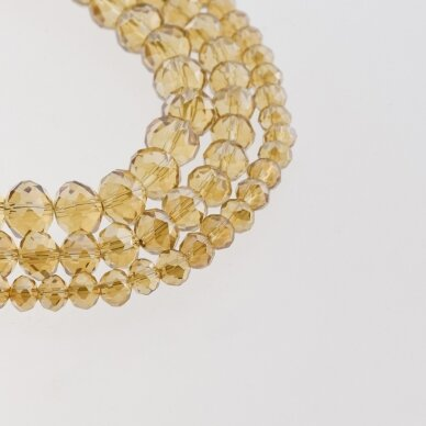 Stikliniai kristalai, briaunuoti, rondelės forma, #051 skaidri šampano spalva, sidabro spalvos padengimas, apie 185-190 vnt./gija, 2x1, 3x2, 4x3, 6x4, 8x6, 10x8, 11x9 mm