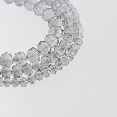 Stikliniai kristalai, briaunuoti, rondelės forma, #053 skaidri šviesiai pilka spalva, apie 185-190 vnt./gija, 2x1, 3x2, 4x3, 6x4, 8x6, 10x8, 11x9 mm