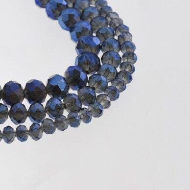 Stikliniai kristalai, briaunuoti, rondelės forma, #055 skaidri šviesiai pilka spalva, metaliko mėlynas padengimas, apie 185-190 vnt./gija, 2x1, 3x2, 4x3, 6x4, 8x6, 10x8, 11x9 mm