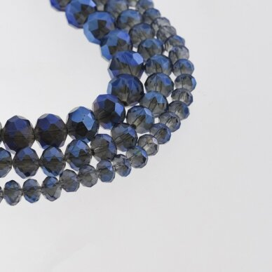 Glass Crystal, Faceted Abacus Rondelle Bead, #055 Transparent Light Grey Plated Metallic Blue, about 185-190 pcs/strand, 2x1, 3x2, 4x3, 6x4, 8x6, 10x8, 11x9 mm
