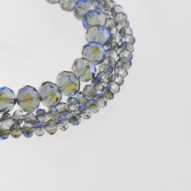 Glass Crystal, Faceted Abacus Rondelle Bead, #056 Transparent Light Grey Plated Metallic Blue and Purple, about 185-190 pcs/strand, 2x1, 3x2, 4x3, 6x4, 8x6, 10x8, 11x9 mm