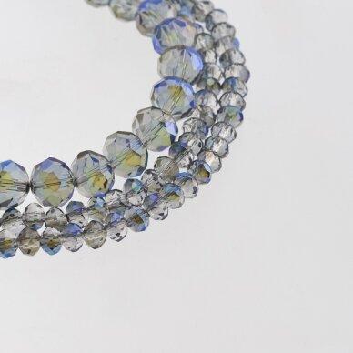 Stikliniai kristalai, briaunuoti, rondelės forma, #056 skaidri šviesiai pilka spalva, metaliko mėlynai purpurinės padengimas, apie 185-190 vnt./gija, 2x1, 3x2, 4x3, 6x4, 8x6, 10x8, 11x9 mm