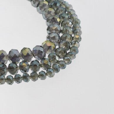 Stikliniai kristalai, briaunuoti, rondelės forma, #058 skaidri gelsvai žalia spalva su purpuriniu blizgesiu, apie 140-145 vnt./gija, 2x1, 3x2, 4x3, 6x4, 8x6, 10x8, 11x9 mm
