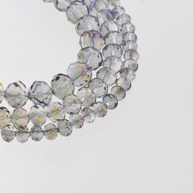 Stikliniai kristalai, briaunuoti, rondelės forma, #059 skaidri pusė šviesi, pusė tamsi samanų spalva, apie 65-70 vnt./gija, 2x1, 3x2, 4x3, 6x4, 8x6, 10x8, 11x9 mm