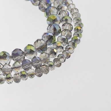 Stikliniai kristalai, briaunuoti, rondelės forma, #060 skaidri žalia ir alyvinė spalva, AB efektas, apie 185-190 vnt./gija, 2x1, 3x2, 4x3, 6x4, 8x6, 10x8, 11x9 mm