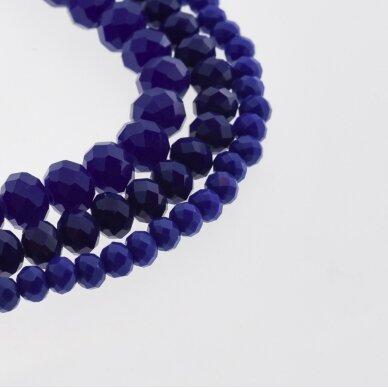 Stikliniai kristalai, briaunuoti, rondelės forma, #069 nepermatoma karališka mėlyna spalva, apie 140-145 vnt./gija, 2x1, 3x2, 4x3, 6x4, 8x6, 10x8, 11x9 mm