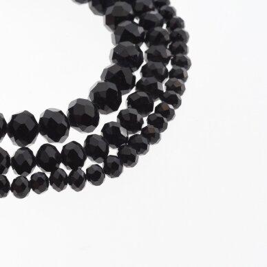 Stikliniai kristalai, briaunuoti, rondelės forma, #073 nepermatoma juoda spalva, apie 180-185 vnt./gija, 2x1, 3x2, 4x3, 6x4, 8x6, 10x8, 11x9 mm