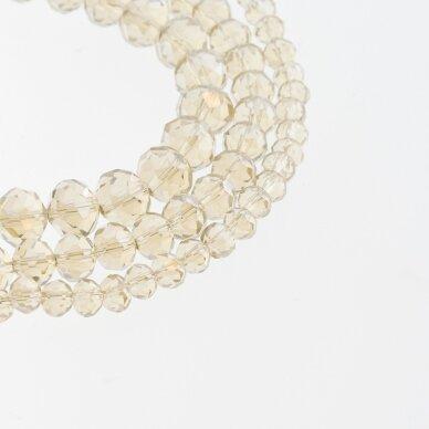 Stikliniai kristalai, briaunuoti, rondelės forma, #074 skaidri šampano spalva, bronzos spalvos pusinis padengimas, apie 185-190 vnt./gija, 2x1, 3x2, 4x3, 6x4, 8x6, 10x8, 11x9 mm