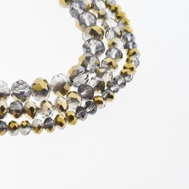 Glass Crystal, Faceted Abacus Rondelle Bead, #075 Transparent Grey and Purple Half-plated Metallic Bronze, about 185-190 pcs/strand, 2x1, 3x2, 4x3, 6x4, 8x6, 10x8, 11x9 mm
