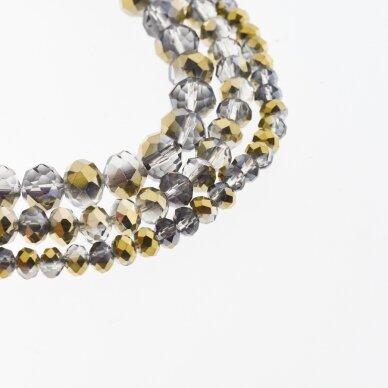 Stikliniai kristalai, briaunuoti, rondelės forma, #075 skaidri pilka ir alyvinė spalva, bronzos spalvos pusinis padengimas, apie 185-190 vnt./gija, 2x1, 3x2, 4x3, 6x4, 8x6, 10x8, 11x9 mm