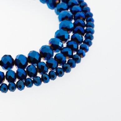 Stikliniai kristalai, briaunuoti, rondelės forma, #079 nepermatoma metaliko mėlyna spalva, apie 185-190 vnt./gija, 2x1, 3x2, 4x3, 6x4, 8x6, 10x8, 11x9 mm