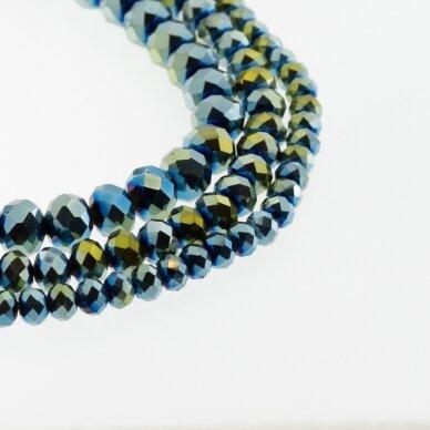 Stikliniai kristalai, briaunuoti, rondelės forma, #081 nepermatoma metaliko žalia ir mėlyna spalva, apie 185-190 vnt./gija, 2x1, 3x2, 4x3, 6x4, 8x6, 10x8, 11x9 mm