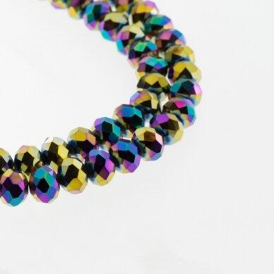 Stikliniai kristalai, briaunuoti, rondelės forma, #082 nepermatoma metaliko vaivorykštės spalva, apie 185-190 vnt./gija, 2x1, 3x2, 4x3, 6x4, 8x6, 10x8, 11x9 mm