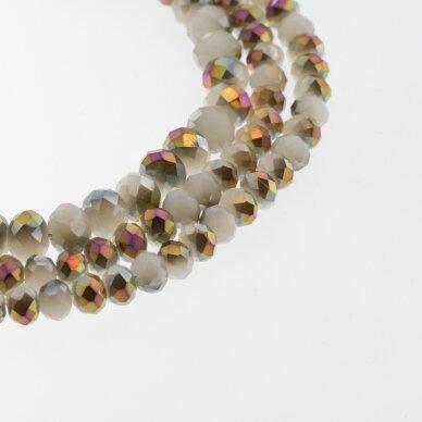 Stikliniai kristalai, briaunuoti, rondelės forma, #092 nepermatoma turkio spalva, sidabro spalvos padengimas, apie 185-190 vnt./gija, 2x1, 3x2, 4x3, 6x4, 8x6, 10x8, 11x9 mm