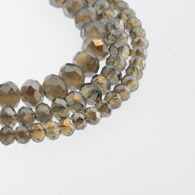 Stikliniai kristalai, briaunuoti, rondelės forma, #106-1 pusiau skaidri pilka spalva, sidabro spalvos padengimas, apie 90-95 vnt./gija, 2x1, 3x2, 4x3, 6x4, 8x6, 10x8, 11x9 mm
