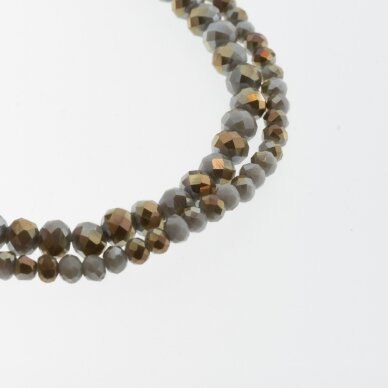Glass Crystal, Faceted Abacus Rondelle Bead, #119 Opaque Baltic Sea Sand Plated Metallic Silver, about 90-95 pcs/strand, 2x1, 3x2, 4x3, 6x4, 8x6, 10x8, 11x9 mm