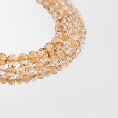 Stikliniai kristalai, briaunuoti, rondelės forma, #150 nepermatoma pieno spalva, aukso spalvos pusinis padengimas, apie 140-145 vnt./gija, 2x1, 3x2, 4x3, 6x4, 8x6, 10x8, 11x9 mm