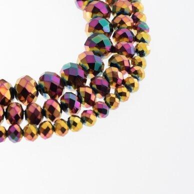 Stikliniai kristalai, briaunuoti, rondelės forma, #235 nepermatoma metaliko auksinė-žalia-rožinė spalva, apie 185-190 vnt./gija, 2x1, 3x2, 4x3, 6x4, 8x6, 10x8, 11x9 mm