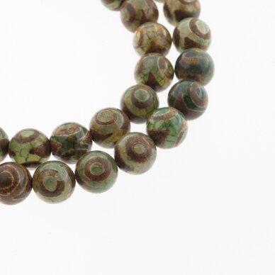 Tibetan Style Dzi Agate, Natural, B Grade, Dyed, Heated, Round Bead, Eyed Light Brown-Green, 37-39 cm/strand, 8, 10, 12 mm