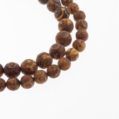 Tibetan Style Dzi Agate, Natural, B Grade, Dyed, Heated, Round Bead, Eyed Terracotta-Brown, 37-39 cm/strand, 8, 10, 12 mm 2
