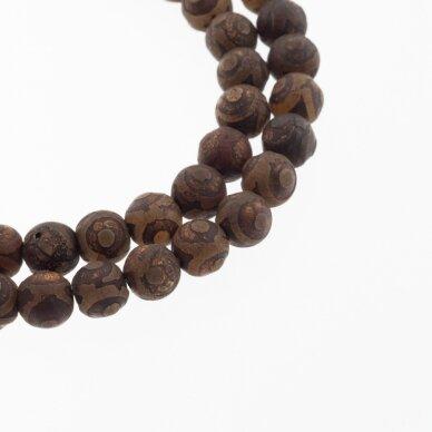 Tibetan Style Dzi Agate, Natural, B Grade, Dyed, Heated, Round Bead, Eyed Terracotta-Brown, 37-39 cm/strand, 8, 10, 12 mm