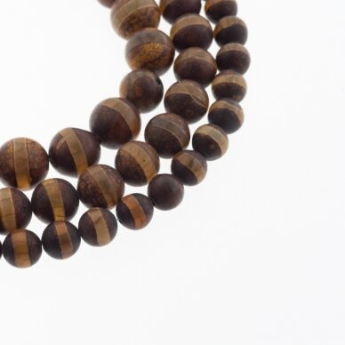 Tibetan Style Dzi Agate, Natural, B Grade, Dyed, Heated, Round Bead, Banded Brown, 37-39 cm/strand, 8, 10, 12 mm