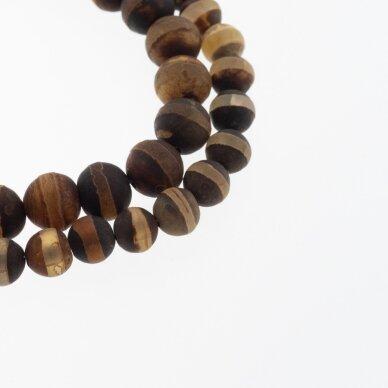 Tibetan Style Dzi Agate, Natural, B Grade, Dyed, Heated, Round Bead, Banded Chocolate, 37-39 cm/strand, 8, 10, 12 mm