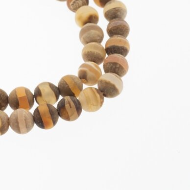 Tibetan Style Dzi Agate, Natural, B Grade, Dyed, Heated, Round Bead, Banded Light Brown, 37-39 cm/strand, 8, 10, 12 mm