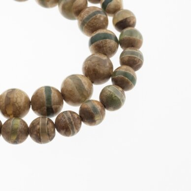 Tibetan Style Dzi Agate, Natural, B Grade, Dyed, Heated, Round Bead, Banded Light Brown-Green, 37-39 cm/strand, 8, 10, 12 mm