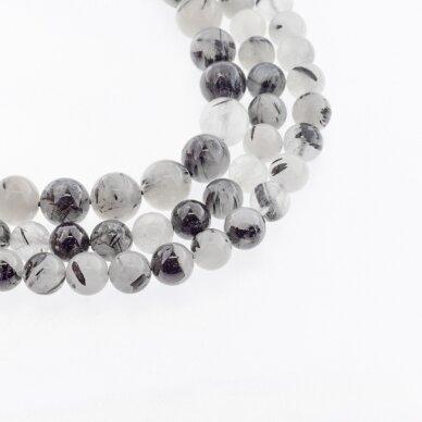 Turmalininis kvarcas, natūralus, AB kokybė, apvali forma, baltai juoda spalva, 37-39 cm/gija, 4, 6, 8, 10, 12 mm