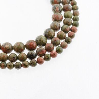 Unakitas, natūralus, B kokybė, apvali forma, žalia-oranžinė spalva, 37-39 cm/gija, 4, 6, 8, 10, 12 mm