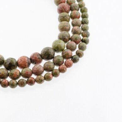 Unakitas, natūralus, B kokybė, briaunuotas, apvali forma, žalia-oranžinė spalva, 37-39 cm/gija, 4, 6, 8, 10, 12 mm