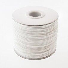 Vaškuota poliesterinė virvelė, #06 balta spalva, apie 180 metrų/ritė, 0.5 mm
