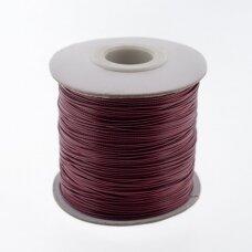 Vaškuota poliesterinė virvelė, #61 raudonojo vyno spalva, apie 180 metrų/ritė, 1.0 mm