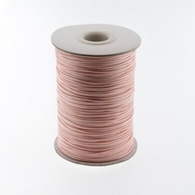 Vaškuota poliesterinė virvelė, #08 ypač šviesi rožinė spalva, apie 180 metrų/ritė, 1.5 mm