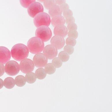 """""""Žadeitas"""" (dolomitinis marmuras), natūralus, dažytas, apvali forma, #Y02 rožinė spalva, 37-39 cm/gija, 6, 8, 10, 12 mm"""