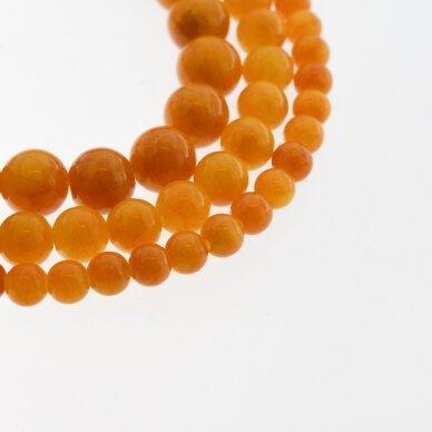 """""""Žadeitas"""" (dolomitinis marmuras), natūralus, dažytas, apvali forma, #Y08 oranžinė spalva, 37-39 cm/gija, 6, 8, 10, 12 mm"""