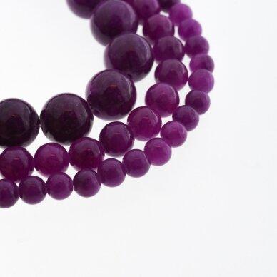 """""""Žadeitas"""" (dolomitinis marmuras), natūralus, dažytas, apvali forma, #Y11 tamsi purpurinė spalva, 37-39 cm/gija, 6, 8, 10, 12 mm"""