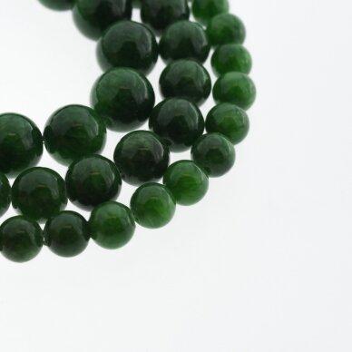 """""""Žadeitas"""" (dolomitinis marmuras), natūralus, dažytas, apvali forma, #Y13 tamsi žalia spalva, 37-39 cm/gija, 6, 8, 10, 12 mm"""