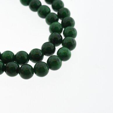 """""""Žadeitas"""" (dolomitinis marmuras), natūralus, dažytas, apvali forma, #Y14 malachito žalia spalva , 37-39 cm/gija, 6, 8, 10, 12 mm"""