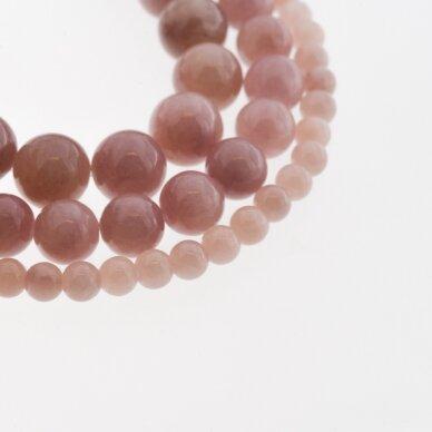 """""""Žadeitas"""" (dolomitinis marmuras), natūralus, dažytas, apvali forma, #YXS05 pilkai rožinė spalva, 37-39 cm/gija, 6, 8, 10, 12 mm"""