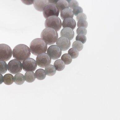 """""""Žadeitas"""" (dolomitinis marmuras), natūralus, dažytas, apvali forma, #YXS08 rausvai žydra spalva, 37-39 cm/gija, 6, 8, 10, 12 mm"""