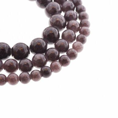 """""""Žadeitas"""" (dolomitinis marmuras), natūralus, dažytas, apvali forma, #YXS11 ruda spalva su violetiniu atspalviu, 37-39 cm/gija, 6, 8, 10, 12 mm"""