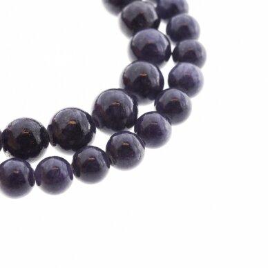 """""""Žadeitas"""" (dolomitinis marmuras), natūralus, dažytas, apvali forma, #YXS15 tamsi mėlynai violetinė spalva, 37-39 cm/gija, 6, 8, 10, 12 mm"""
