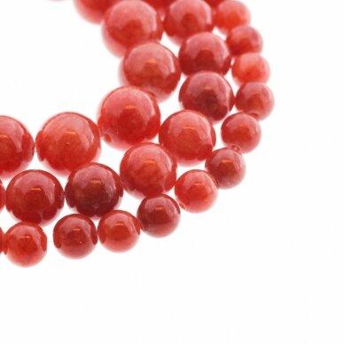 """""""Žadeitas"""" (dolomitinis marmuras), natūralus, dažytas, apvali forma, #YXS16 karneolio raudona spalva, 37-39 cm/gija, 6, 8, 10, 12 mm"""