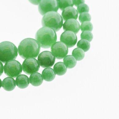 """""""Žadeitas"""" (dolomitinis marmuras), natūralus, dažytas, apvali forma, #YXS19 žalia spalva, 37-39 cm/gija, 6, 8, 10, 12 mm"""