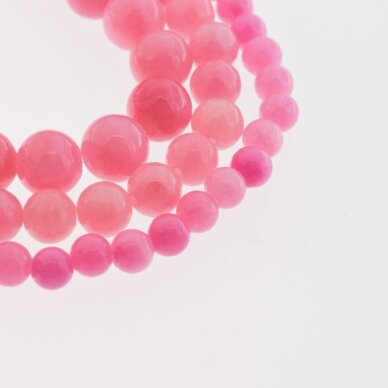 """""""Žadeitas"""" (dolomitinis marmuras), natūralus, dažytas, apvali forma, #YXS21 arbūzo rožinė spalva, 37-39 cm/gija, 6, 8, 10, 12 mm"""