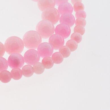 """""""Žadeitas"""" (dolomitinis marmuras), natūralus, dažytas, apvali forma, #YXS23 ryškiai rožinė spalva, 37-39 cm/gija, 6, 8, 10, 12 mm"""